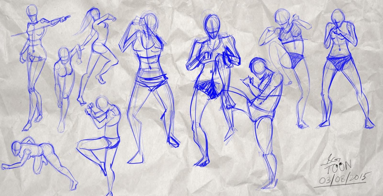 Action anatomy sketches with different background images and texture ...