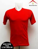 Jual Kaos Polos V Neck merah terang