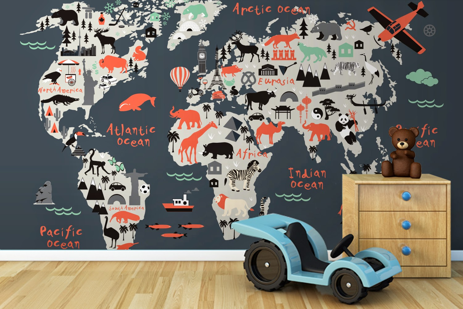 Madhouse Family Reviews Giveaway Win A World Map Mural Worth - Explorer kids world map mural
