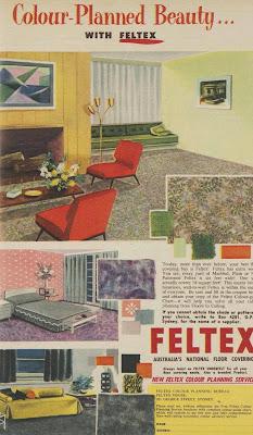 1955 ad for feltex carpet