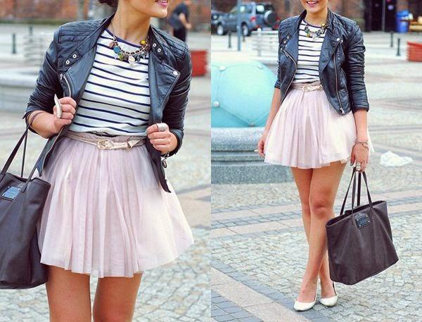 jaqueta de couro com saia de tule, roupas da moda, moda feminina