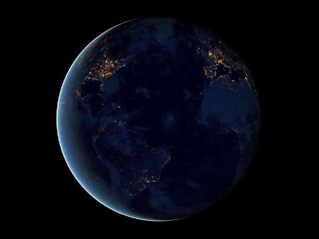 Vista noturna da terra