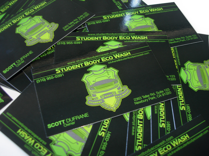 Student body eco wash business cards ykg printing lime green business card with a black background they also had us print business cards for their distribution company we ran this particular card on reheart Gallery