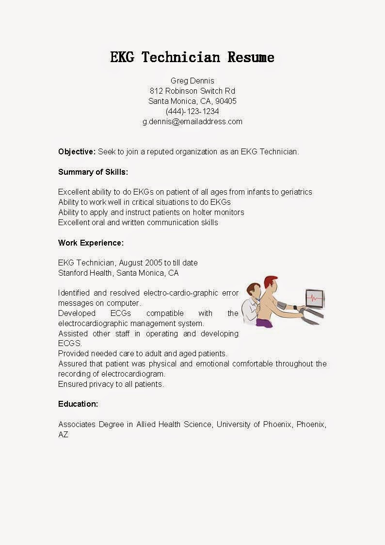 resume samples  ekg technician resume sample