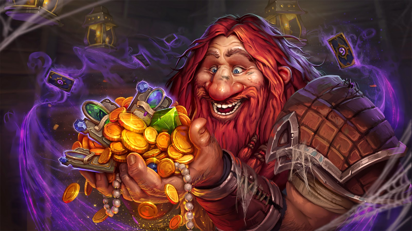 Dwarf collecting loot of gold and gems