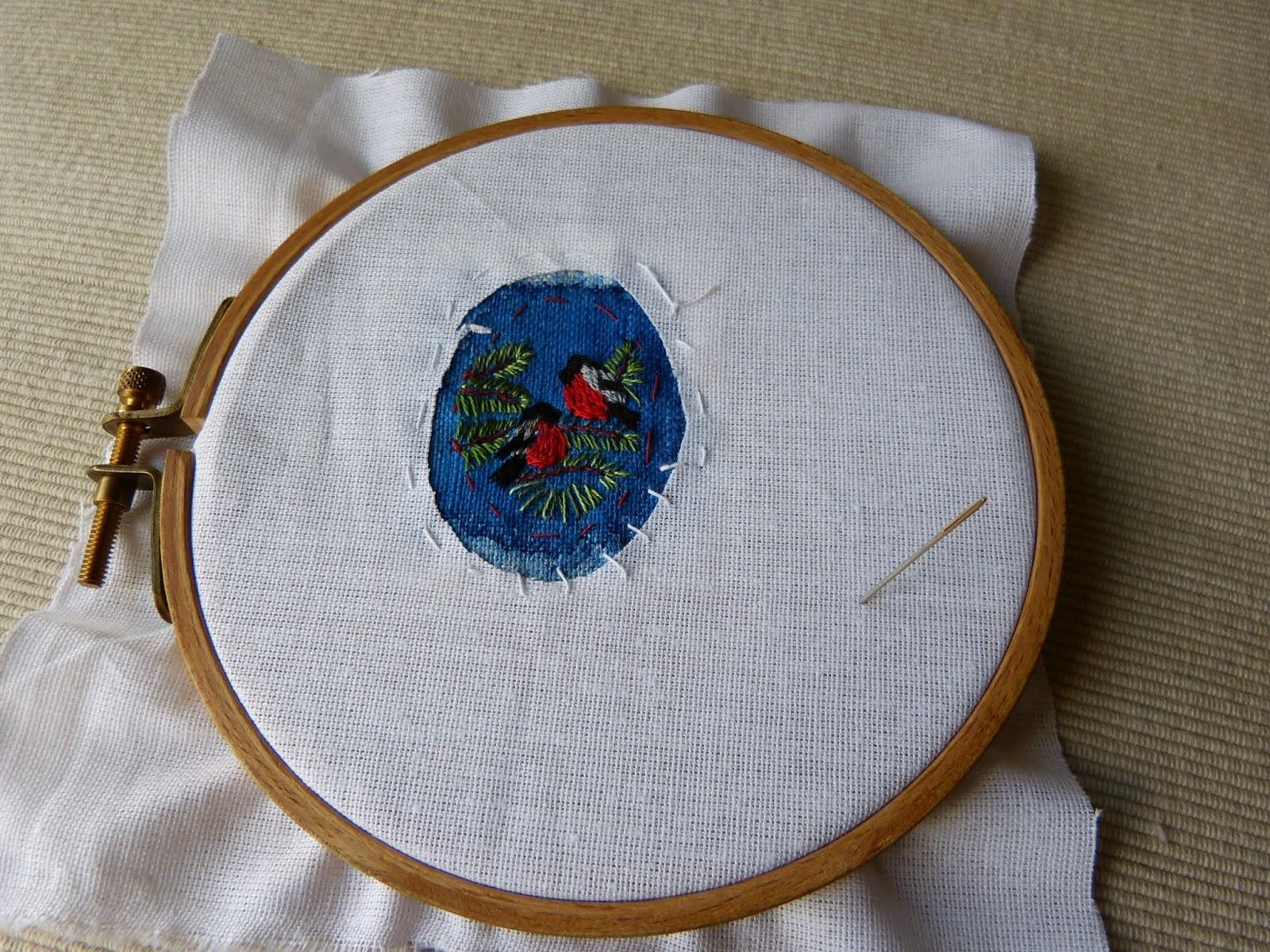 mały tamborek, haft płaski, haftowane gile
