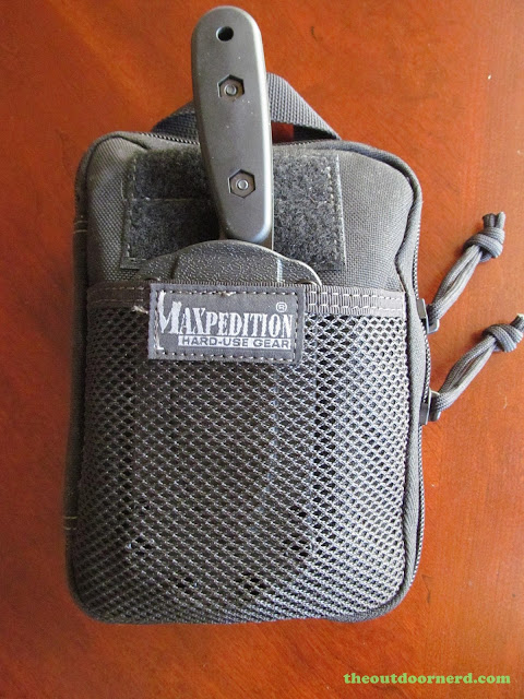 Maxpedition EDC Pocket Organizer - Closeup of Netting With Ka-Bar BK14 Fixed Blade Knife