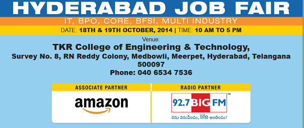 Hyderabad Job Fair Off Campus For Freshers on 18th & 19th Oct 2014 at