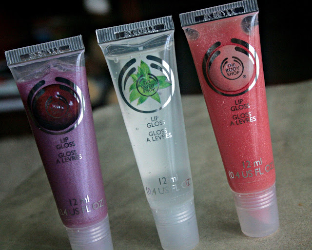 The Body Shop Spring 2013 Collection Lip Glosses in Plum, Pink Grapefruit, Mint