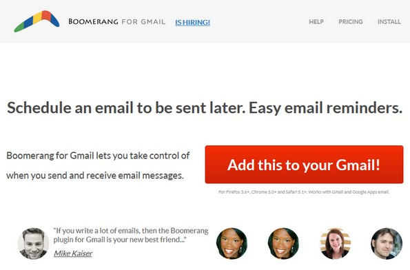 Schedule emails through boomerang