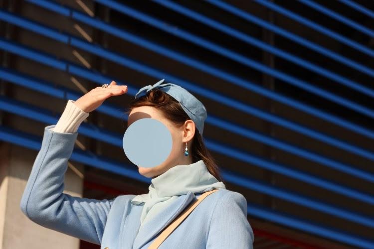 blue stewardess lolita japanese fashion outfit 1955 hat pattern