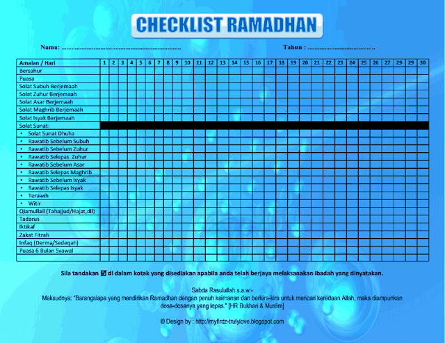 Download Checklist Ramadhan