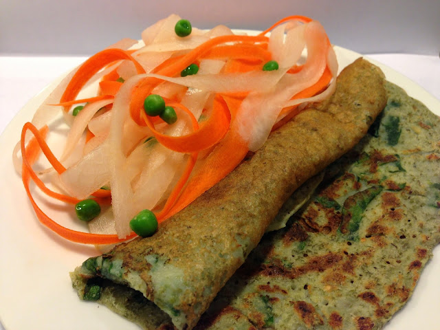 Green Mung Bean Chilla with Carrots and Radish Ribbons and Peas Tossed with Simple Lemon Dressing.
