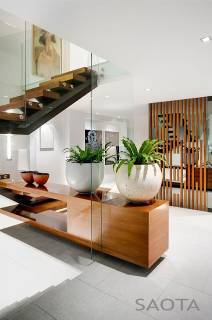 Photo of modern furniture and a single plant in the hallway with staircase