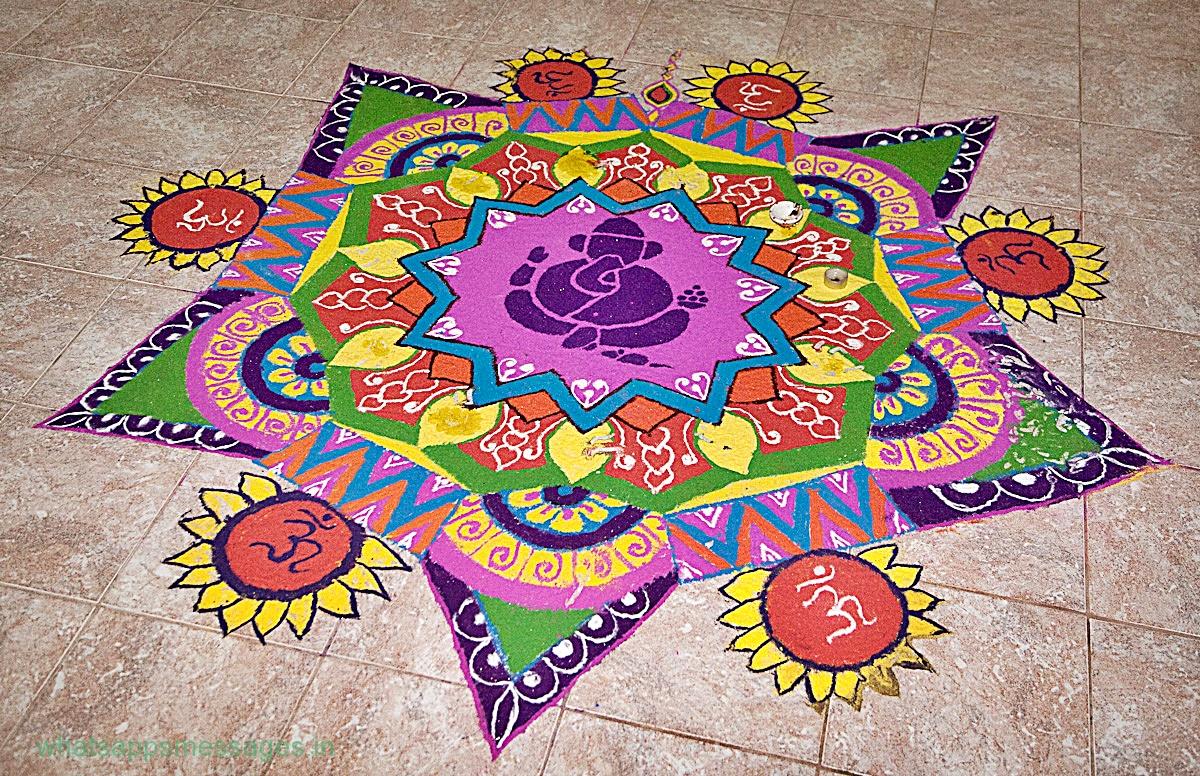 Latest rangoli design for diwali deepawali for Door rangoli design images