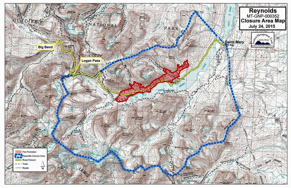 The Huckleberry Hiker: Update on Glacier Wildfire   Map of Closure