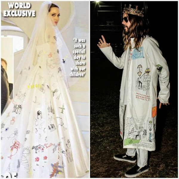 Angelina Jolie wears Atelier Versace wedding dress with custom drawings by her kids - Jared Leto wears custom Chrome Hearts lab coat with Dolce Gabbana crown