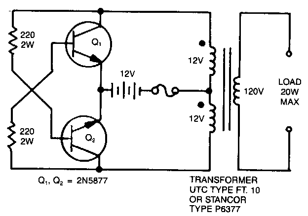 simple 12 vdc battery operated 120 vac power source circuit diagram