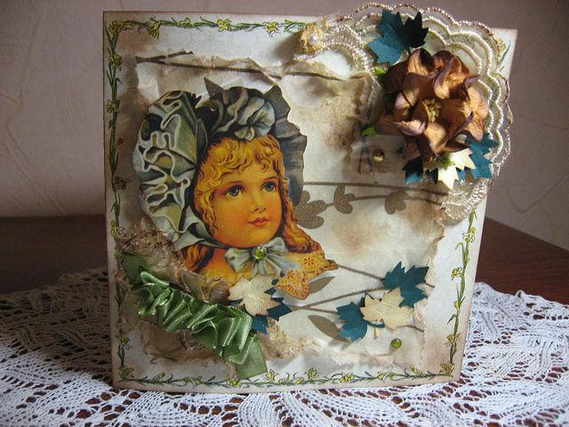Осенняя открытка с которой хочу поучаствовать в кокурсе волгоградского скрапклуба