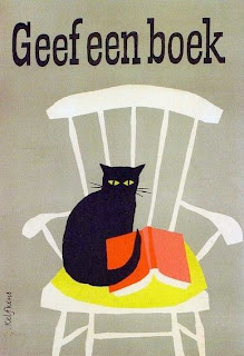 illustration by dutch graphic artist kees kelfkens of a book advertisement of a cat on a chair