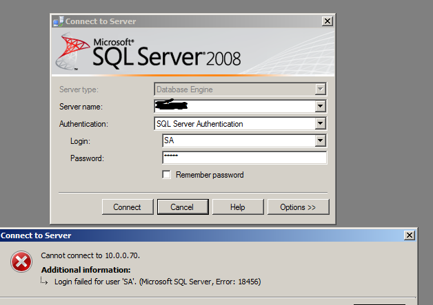 failed login attempts in SQL Server