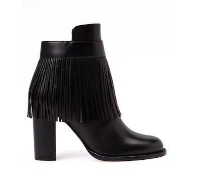 Valentino Black fringe ankle boots
