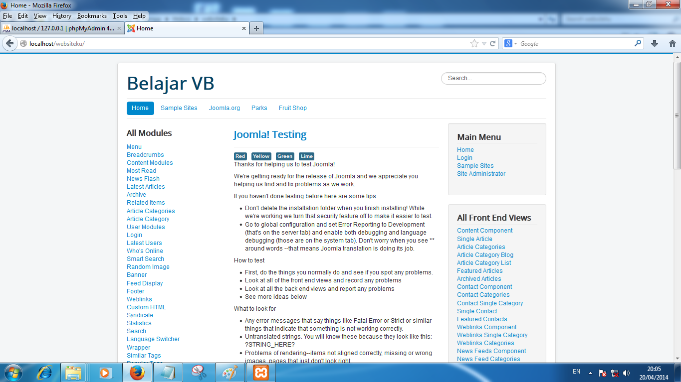 Preview Install Sample Data : Test English Joomla! 3.X | Belajar Joomla!