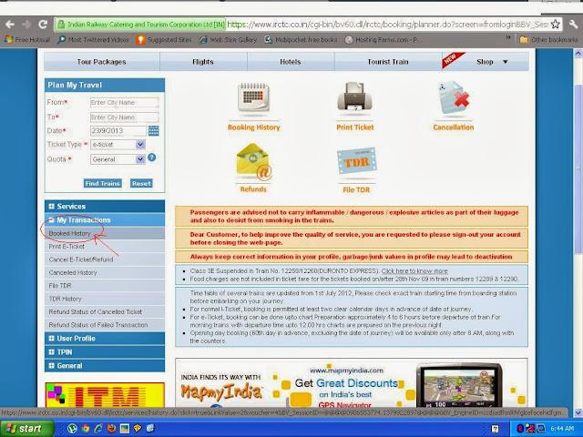 IRCTC Login Plan My travel Page