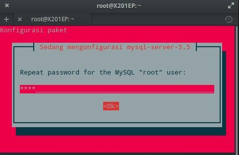 Instal MySQL dan phpMyAdmin : Ulangi Kata Sandi MySQL (ROOT)