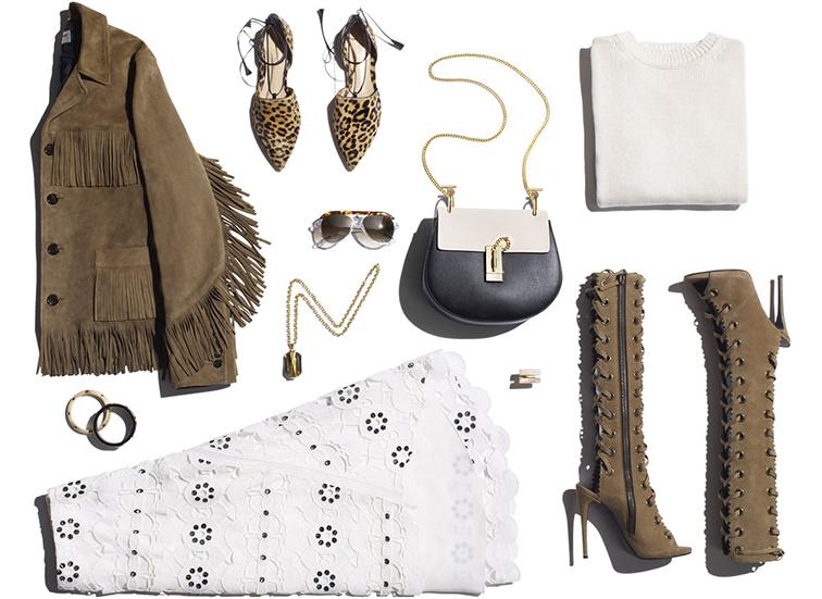 Spring 2015 style, 70s inspired, Saint Laurent suede tassel jacket