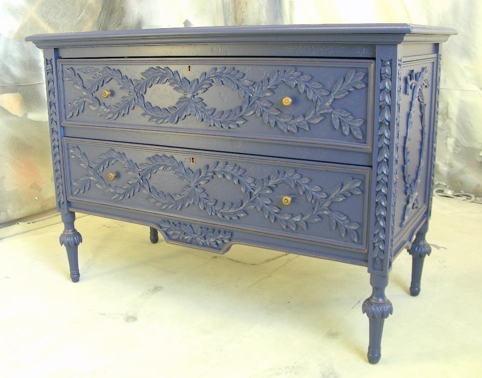 Sydney Barton Painted Furniture Navy Blue Carved Chest