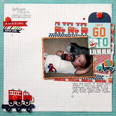 Heather Landry_Boy Scrapbook Page_Fire Truck