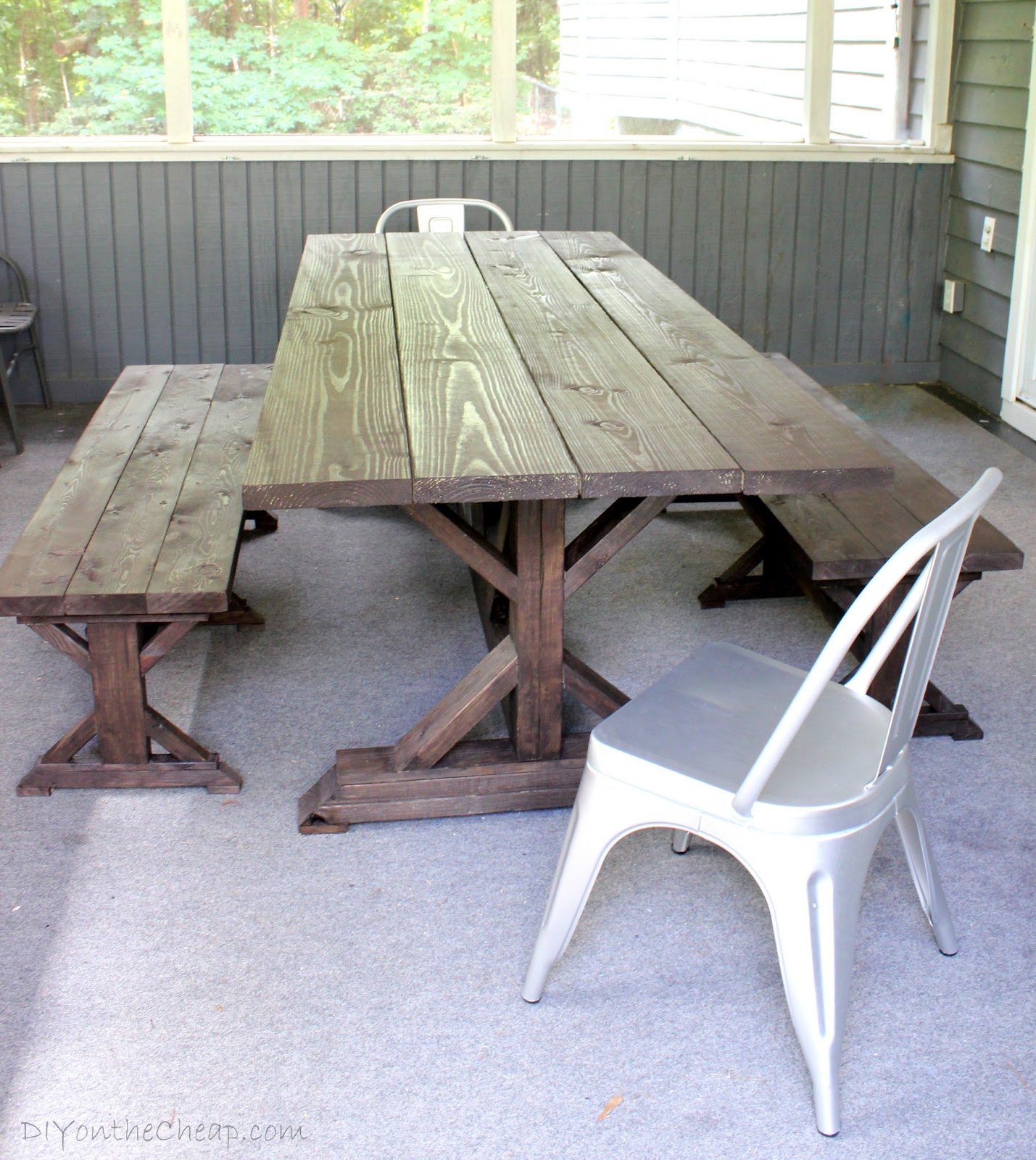 Anthro Inspired Outdoor Farmhouse Table & Benches DIY on the Cheap by E