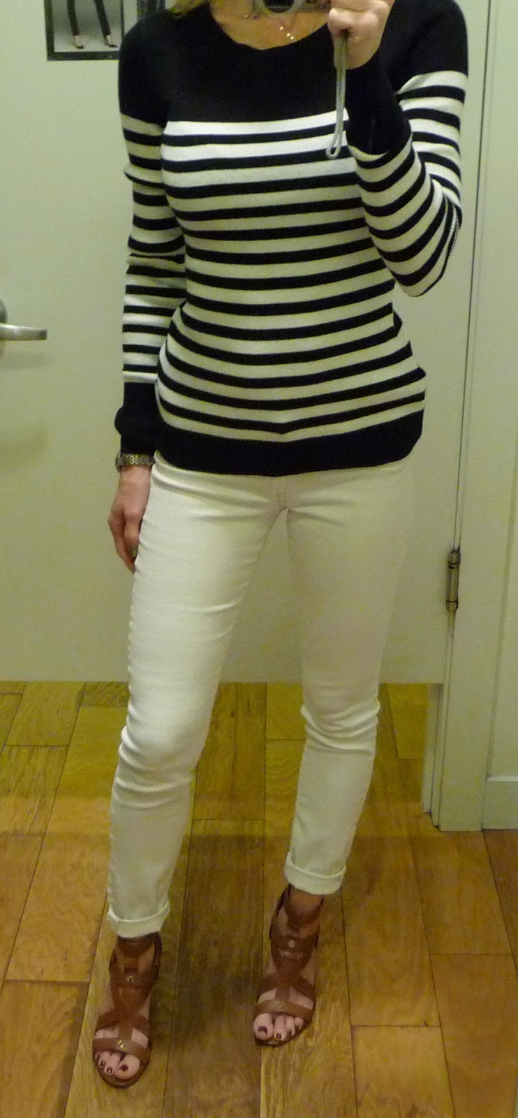 Express striped sweater, black and white