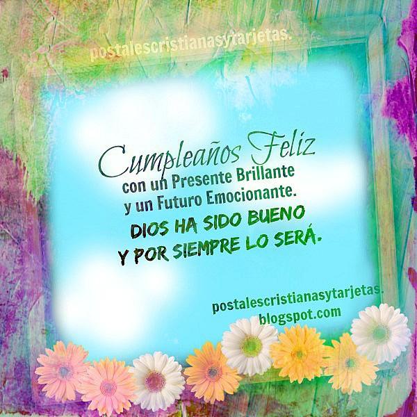 Tarjeta linda feliz cumpleaños con bonita imagen cristiana, felicitación amigo, postal cristiana con mensaje cristiano