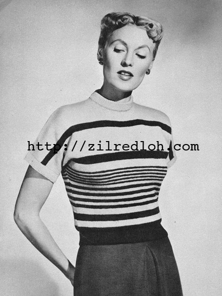 Free 1950's Knitting Pattern- Nautical Striped Pullover