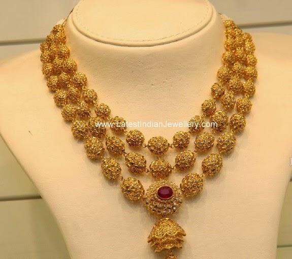 Uncut Diamond Gold Balls Necklace