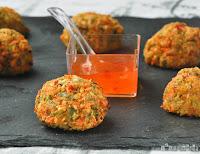 Croquetas de verduras y gambas (horno) con salsa agridulce