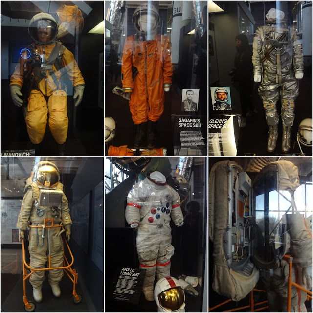 A collection of space suits display at Space and Air Museum in Washington DC, USA