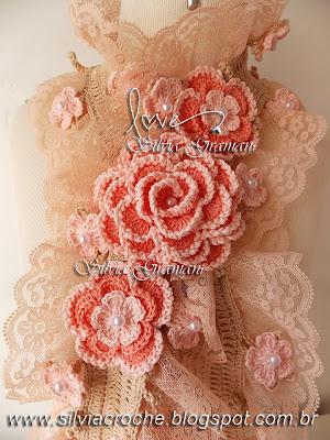 croche, cachecol de croche, cachecol de croche com flores, broche de flores, cachecol de renda, renda, renda tricô, cachecol de babados, cachecol feminino, acessório feminino, acessorios feminino, cachecol deusa
