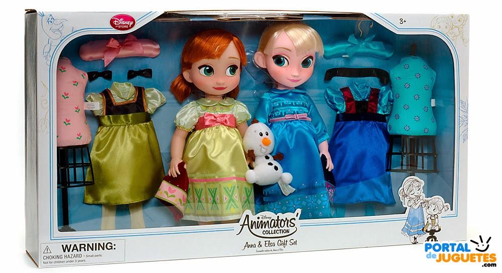 set coleccion elsa anna disney animators caja