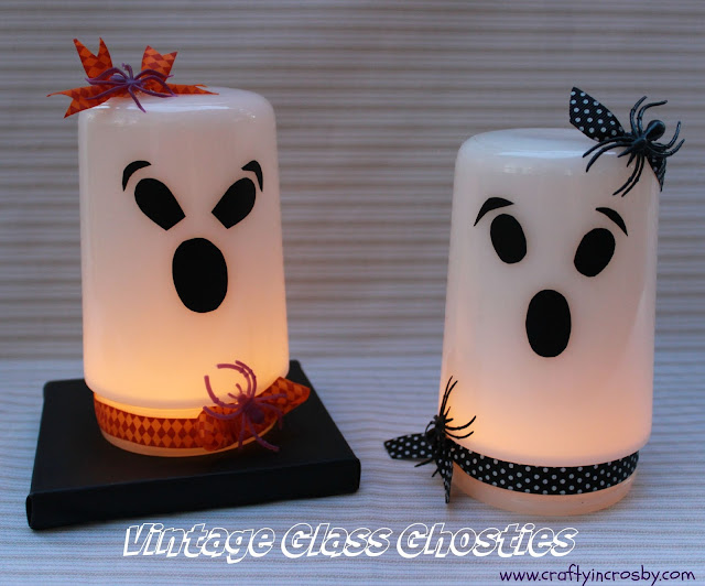 vintage ghosts, glass globe ghosts, Halloween Decorating, Halloween DIY
