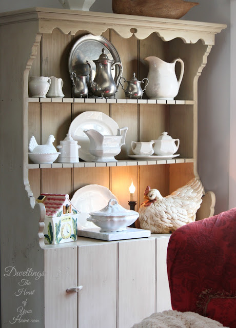 Farmhouse kitchen cupboard with Ironstone dishes.