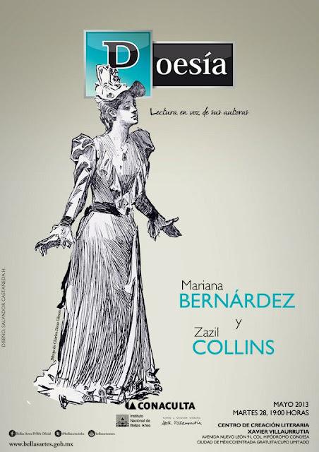 """El ciclo """"Poesía, lectura en voz de sus autoras"""" presenta  Mariana Bernárdez y Zazil Collins en el CCLXV"""