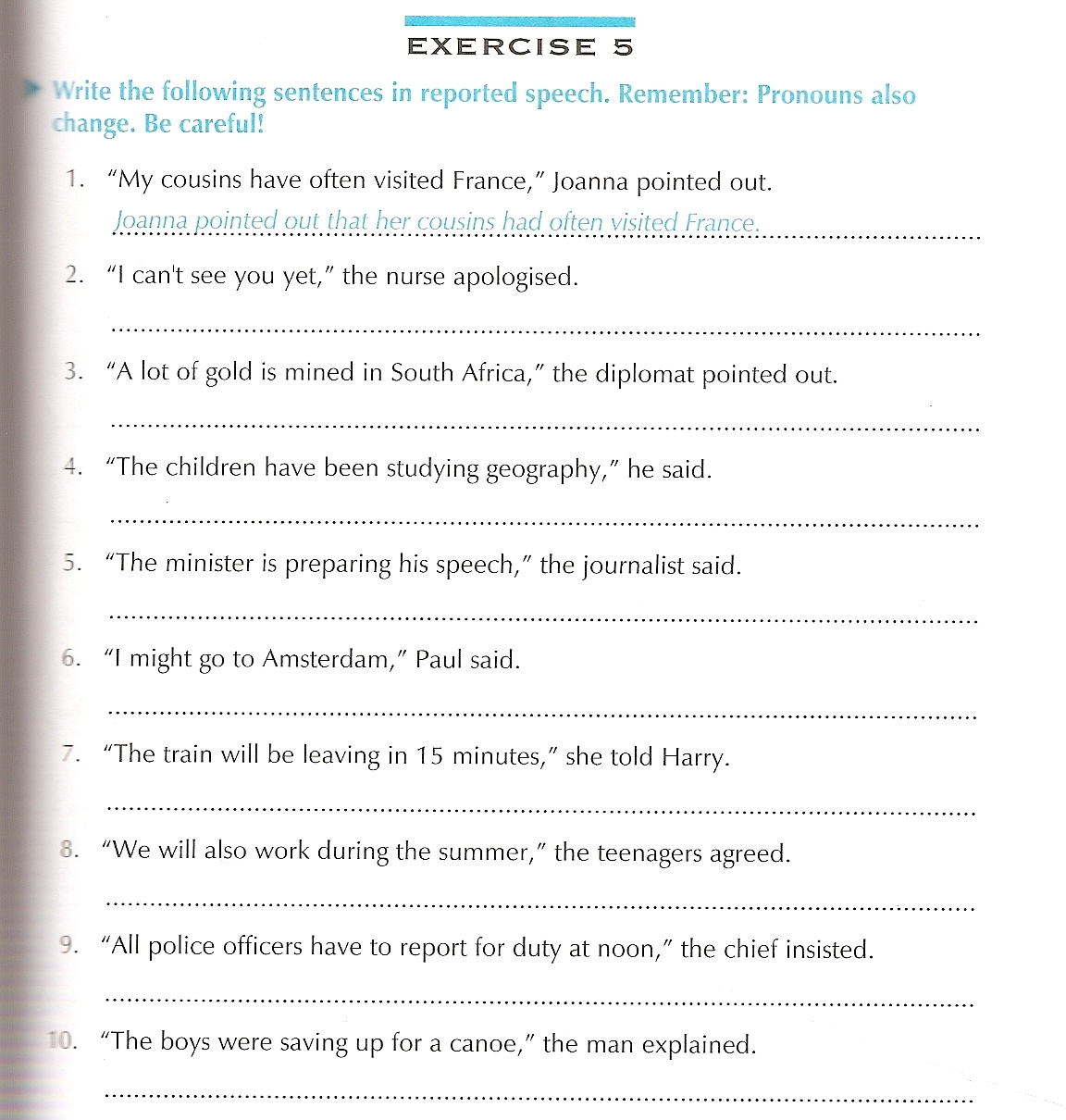 speech for class Exercise on reported speech - 10 :: learn english online - free exercises, explanations, games, teaching materials and plenty of information on english language :: page 10.