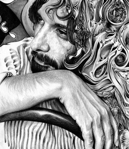 T.S. Abe desenhos a lápis hiper realistas retratos famosos