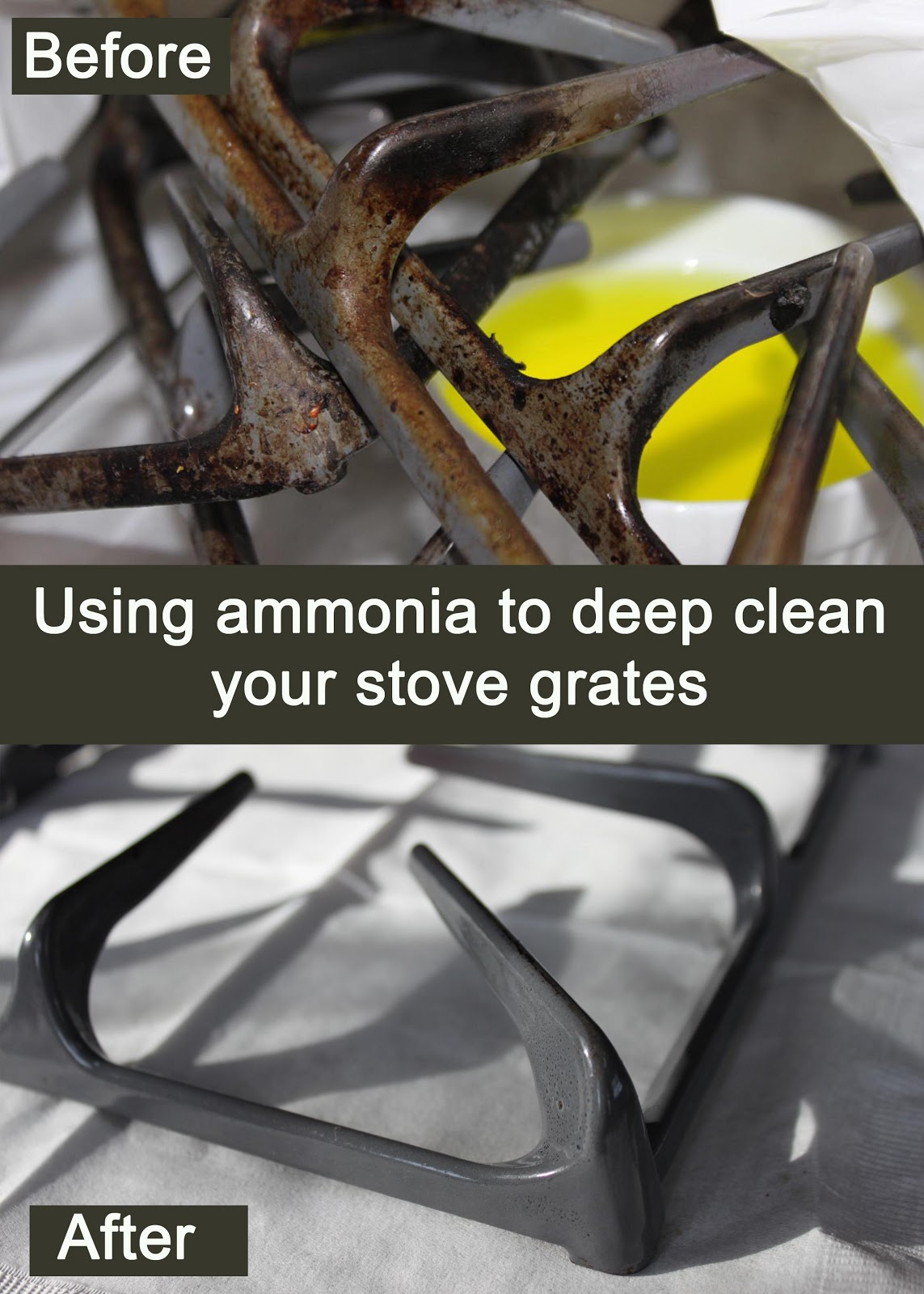 my great challenge how to clean your stove grates using ammonia. Black Bedroom Furniture Sets. Home Design Ideas