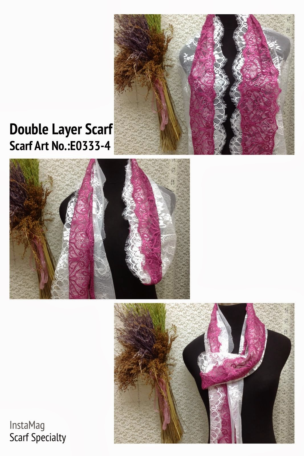 Double Layer Eyelesh Lace Scarf