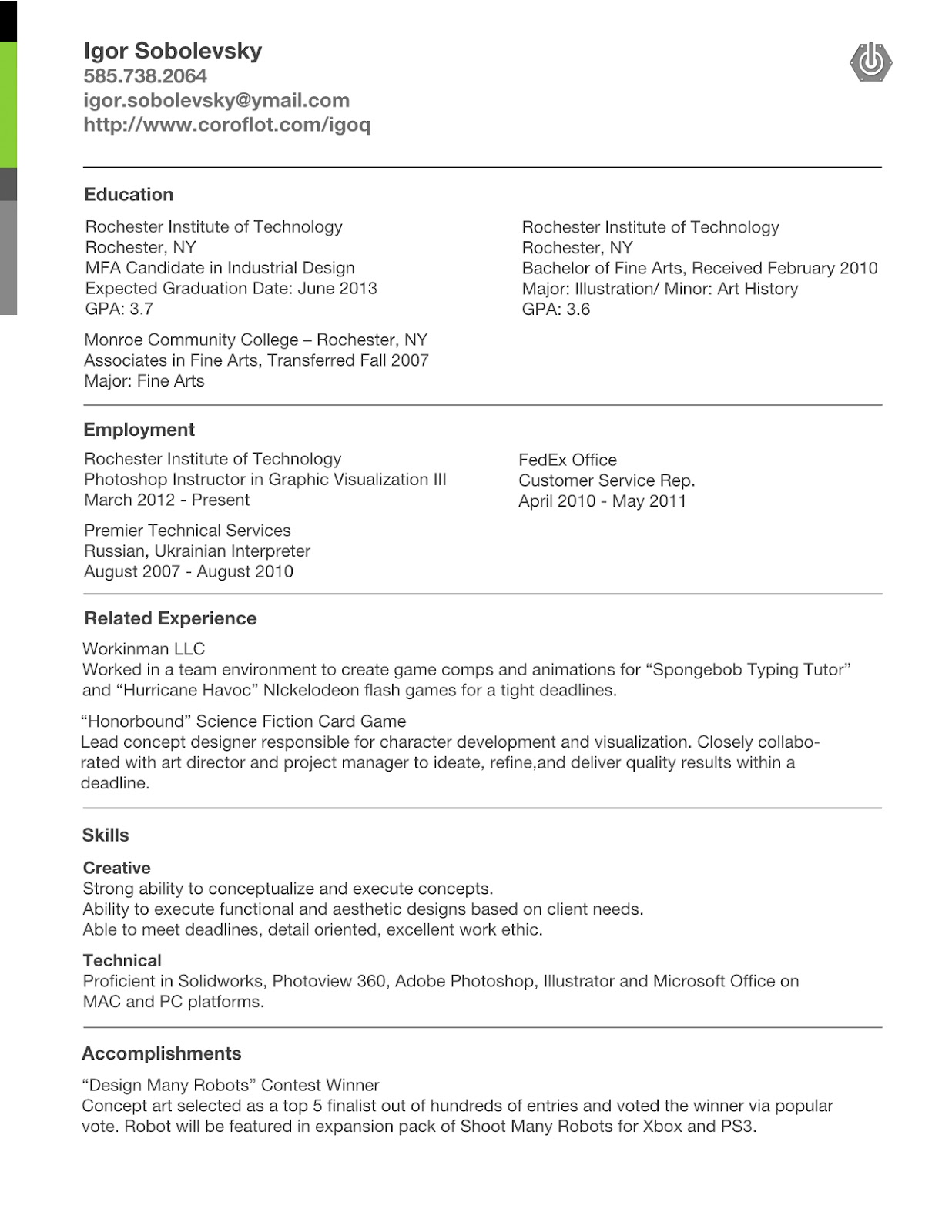 Igoq Concept And Industrial Design  Industrial Designer Resume