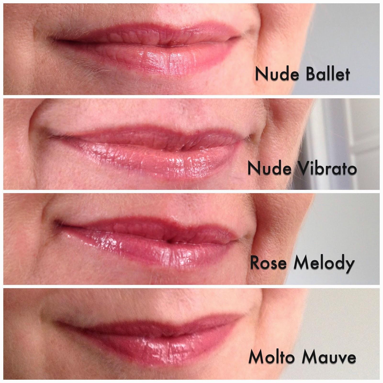 L'Oreal L'extraordinaire Liquid Lipstick lip swatches nude ballet nude vibrato rose melody and molto mauve